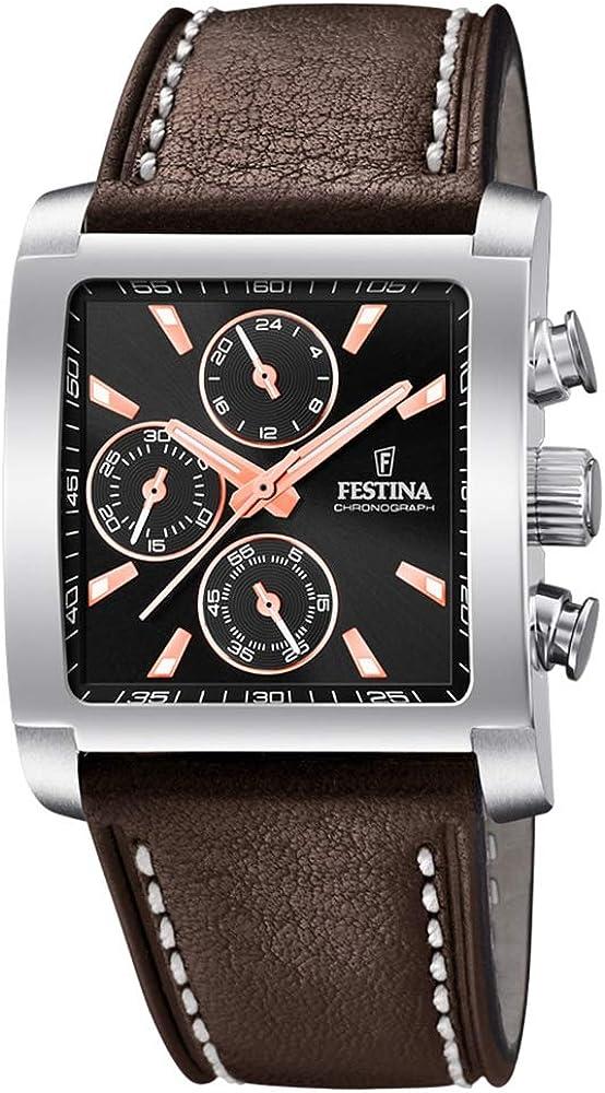 Festina orologio cronografo da uomo con cassa in acciaio inossidabilee cinturino in vera pelle F20424/4