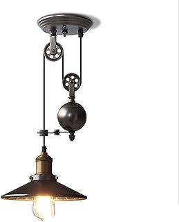 DSAEFG Industriële Vintage Plafond Hanglamp, Lifting katrol smeedijzeren kroonluchter Zwart (Maat: A)