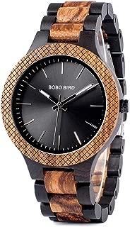 Wooden Watches Two-Tone Zebra Wood & Ebony Wood Watche Luminous Hands Analog Quartz Wristwatch for Men in Wooden Gift Box