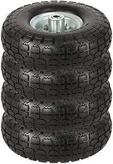 Topeakmart 4/8/12 Pcs Solid Rubber Tyre Wheels - Garden Sack Truck Trolley Cart Wheel Barrow Tyre 10-inch Tire Diameter 5/8-inch Bearings Black (4)