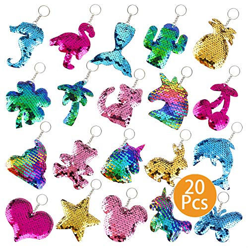FEPITO 20 Pcs Colorful Sequin Keychains for DIY Crafts, Reversible Sequin Glitter Keychains Include Dolphin Flamingo Cat Clover Shape Ornaments Decorations,Birthday Party Gifts Supplies