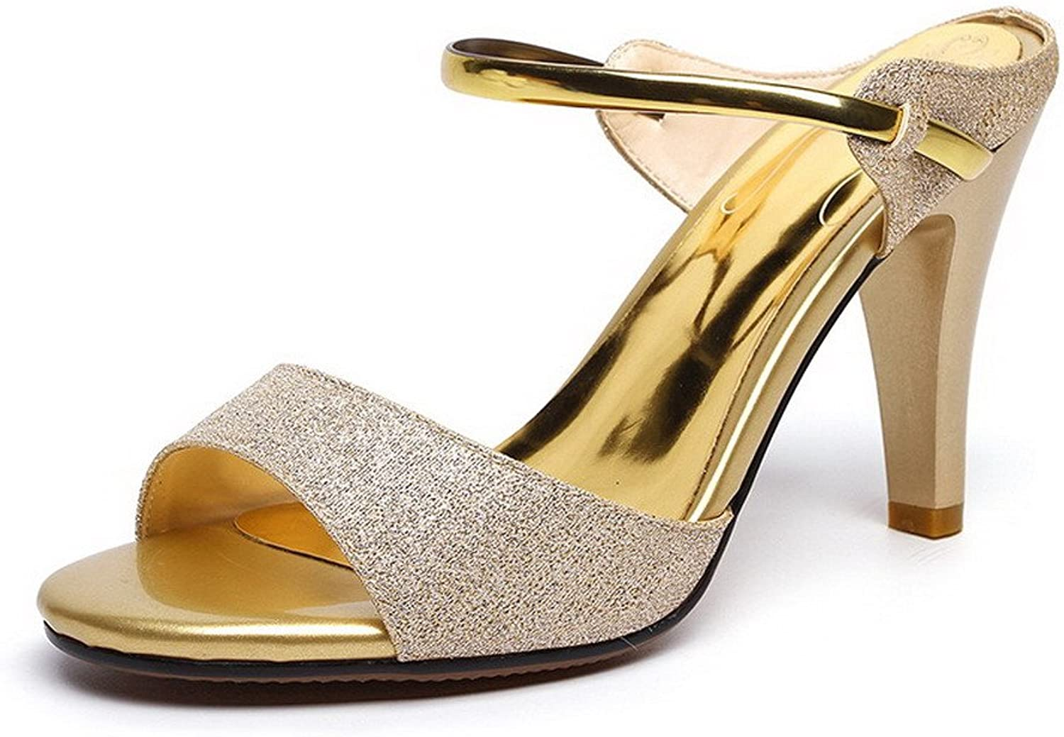 AmoonyFashion Women's Pull-on Open-Toe High-Heels Blend Materials Solid Sandals