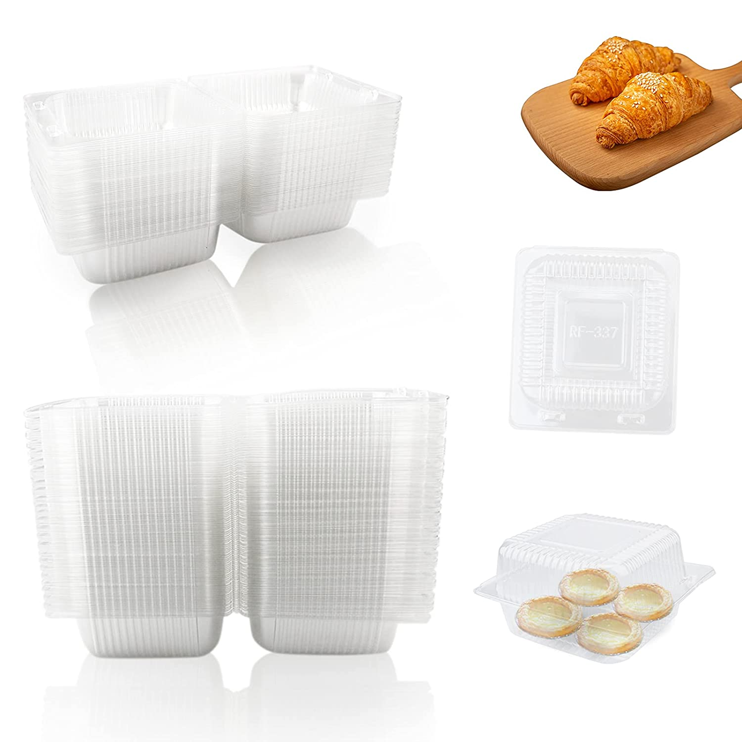 TKOnline 100 Pcs Clear Plastic Square Food Containers, Disposable Clamshell Cupcake Cups Holders for Sandwiches, Fruit, Bread Preseration(5.4