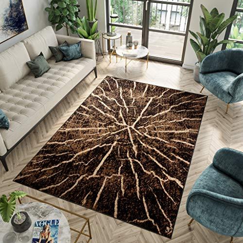 Tapiso Luxury Alfombra de Salón Sala Cuarto Juvenil Diseño Moderno Marrón Oscuro Beige Tronco de Arbol Fina 180 x 250 cm
