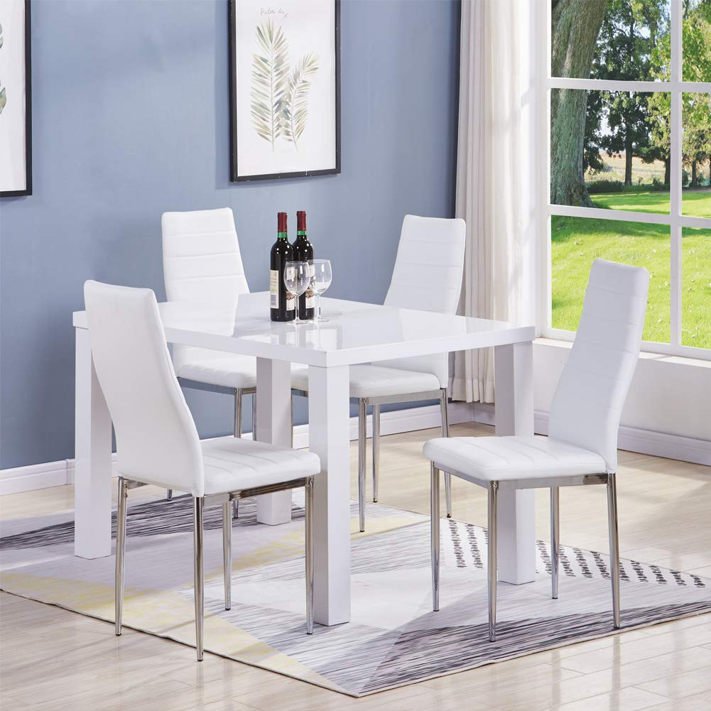 GOLDFAN White High Gloss Dining Table and Chairs Set 10 Modern Rectangular  Living Room Kitchen Dining Table Set for Office Lounge