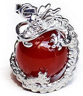 WOVELOT 1 PCS Natural 15mm Piedra Preciosa Bola Colgante Envuelta Plata Aleacion Dragon para Mujeres Encantada Joyeria Collar - Jade Rojo