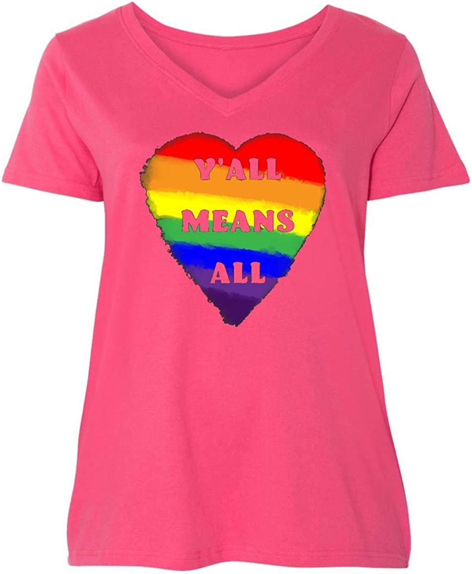 inktastic 即出荷 Y'all Means All Rainbow Plus Heart Women's Pride Size ●手数料無料!!