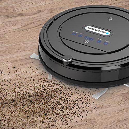 Blaupunkt Saugroboter mit Wischfunktion (Automatischer Staubsauger Roboterstaubsauger) Bluebot, HEPA-Filter & Nasswischfunktion für Allergiker, Fallschutz, Ladestation, Schwarz, 35 Watt - 10