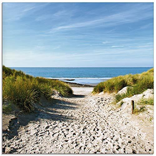 Artland Glasbilder Wandbild Glas Bild einteilig 30x30 cm Quadratisch Strand Meer Küste Nordsee Sand Dünen Natur Landschaft Maritim T9EX