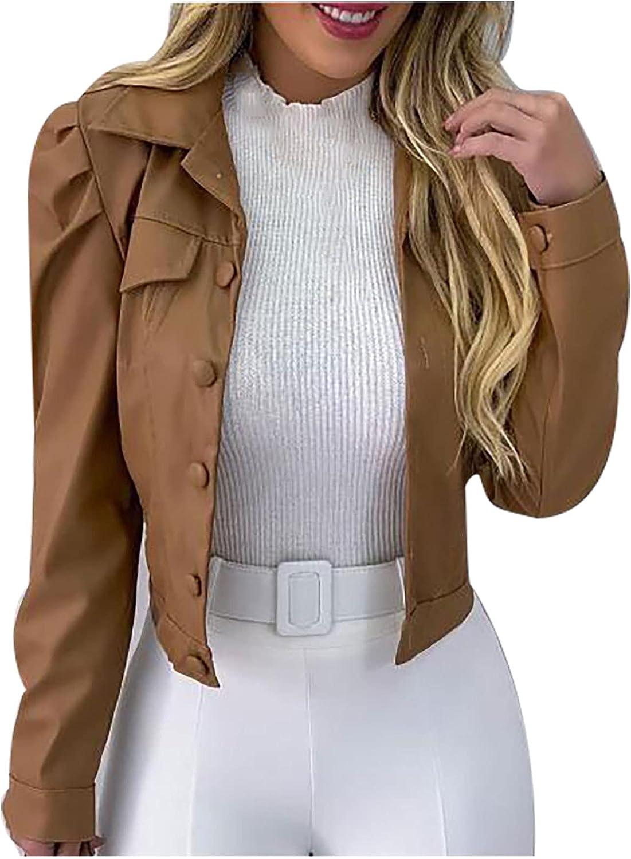 YIdiandn Women's Fashion Short Jackets Lapel Solid Frayed Single Breasted Denim Puff Sleeve Ruched Slim Leather Coat