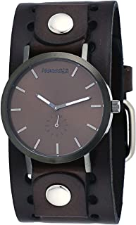 Nemesis DN222B Men's Brown Plated Brown Minimalist Dial Wide Leather Band Watch