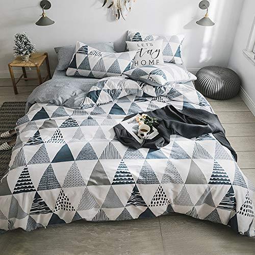 VM VOUGEMARKET Geometric Duvet Cover Set King 100% Cotton 3 Pieces Triangle Pattern Bedding Set,Lightweight Reversible Duvet Cover with Zipper