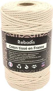 """Rebadis - Fil coton macramé. Corde de qualité supérieure fabriquée en France, bobine 100% coton écru 3mm x 100m. Label""""Fra..."""