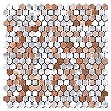 BeNice - 5 hojas de azulejos de pared de azulejos de metal autoadhesivos, para azulejos de cocina, resistentes al calor, para baño, diseño hexagonal (mezcla marrón)
