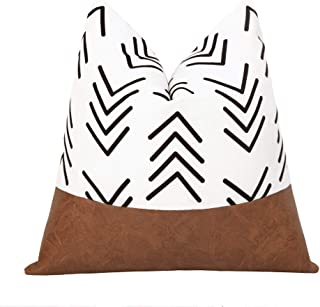 cygnus Boho Decorative Throw Pillow Covers Faux Leather Stitching White Cotton Canvas Black Arrow Pillowcase Modern Accent...