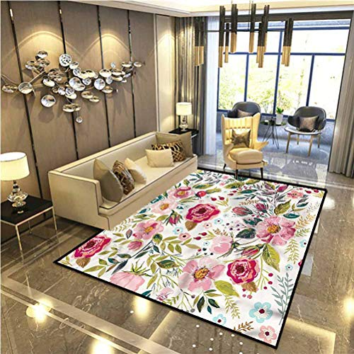 Floral Rugs for Inside House Flowers Roses Petals Dots for Kids, Elders, and Dogs 5 x 6 Ft