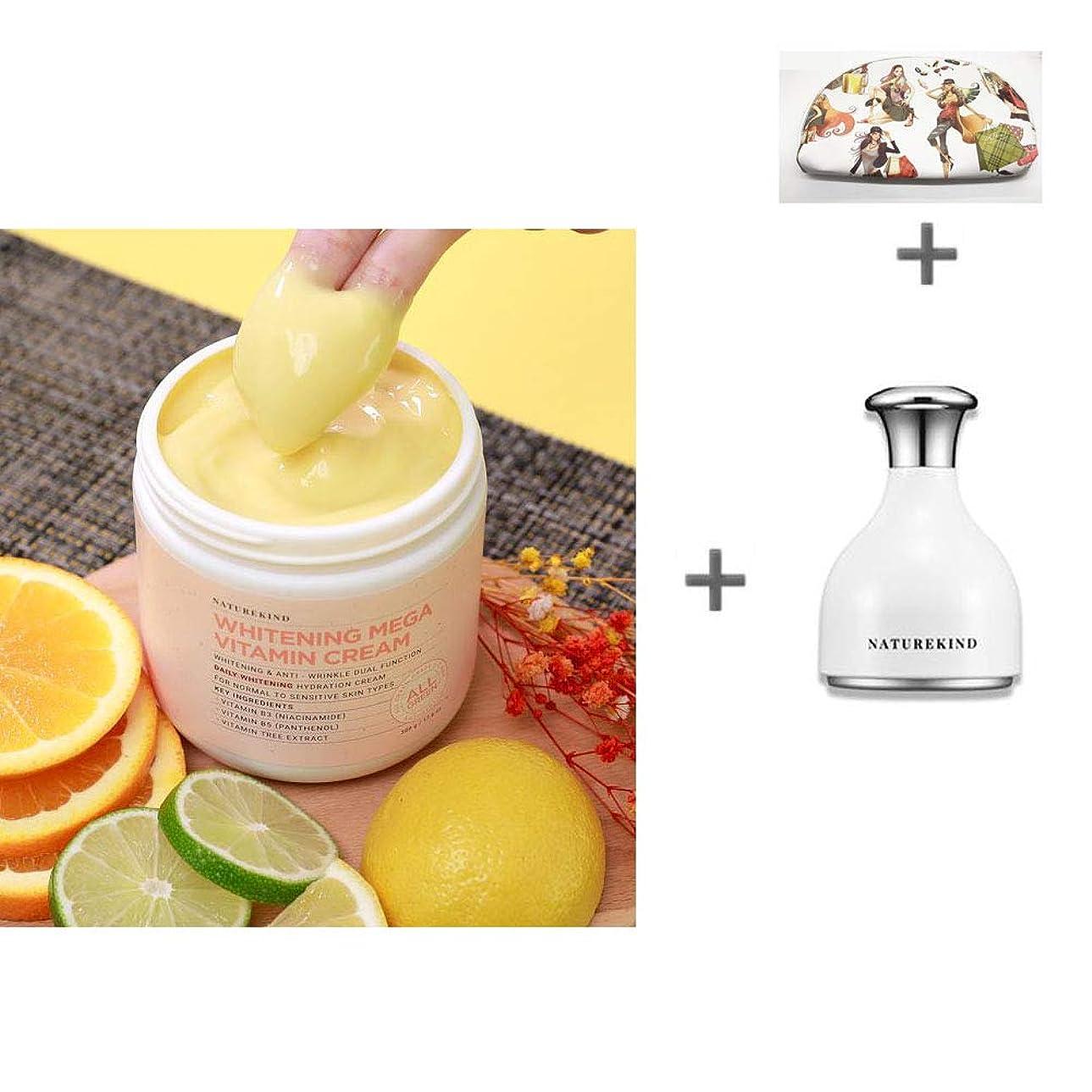 スポンジ強い自治的[ネイチャーカインド]美白ビタミンクリーム500gの大容量Vitamin Cream /全成分100%グリーン評価/敏感肌にも安心/トンオプ/保湿/くすみ除去/美白クリーム [海外直送品][並行輸入品] (クリーム+クーリングスティック)