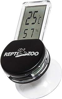 爬虫類温度計 REPTI ZOO デジタル温度湿度計 爬虫類・両生類用 電子温度計湿度計 高精度 簡単に取り付け 半透明 液晶 吸盤 デジタル サーモメーター 温湿度計 (黒)