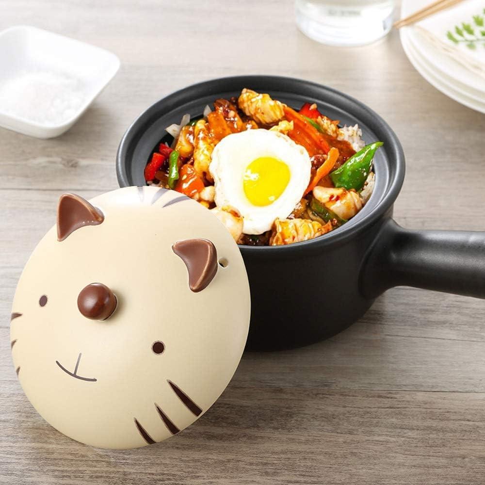 DYXYH Casserole unique poignée Pot en céramique for le lait Cartoon Pot animal cartons for Boiling Hot Pot Fournitures for bébés, maison (Color : B) D