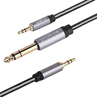 picK-me TRS 3.5mm Macho a TRS 6.3mm Macho y TRS 3.5mm Macho Estéreo Cables, 1/8 a 1/4 Pulgada Macho a Macho Audio Y Divisor para Mezcladores, Grabadoras, Guitarra (3.0M)
