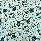 Stoff Meterware Baumwolle grün Mint Petrol gelb Pfau Vogel