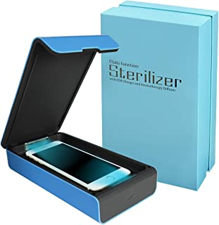 Smart Phone UV Sanitizer Portable UV Light Cell Phone Sterilizer Cleaner Aromatherapy Function Disinfector with USB Charging for iPhone Android Smart Phone Toothbrush Jewelry Watches (Blue)