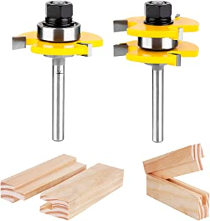 KOWOOD Tongue and Groove Set of 2 Pieces 1/4 Inch Shank Router Bit Set 3 Teeth Adjustable..