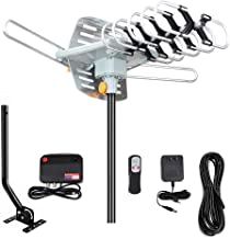 Outdoor Amplified Digital HDTV Antenna 150 Mile Long Range -360 Degree Rotation with Wireless Remote/Mount Pole/33 feet RG...