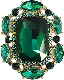 Rosemarie & Jubalee Women's Statement Emerald Cut Glass Crystal Stretch Cocktail Ring