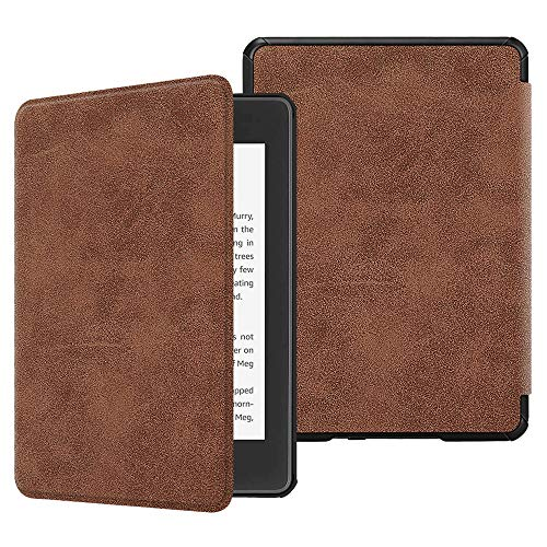Fintie Slimshell Case for All-New Kindle Paperwhite (10th Generation, 2018 Release) - Premium Lightweight PU Leather Cover with Auto Sleep/Wake for Amazon Kindle Paperwhite E-Reader, Rustic Brown