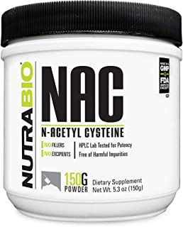 NutraBio N-Acetyl Cysteine Supplement (NAC) – 150 Grams Powder, 600mg Serving