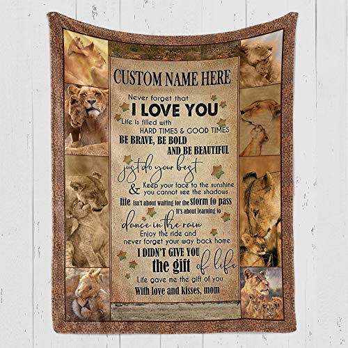 Custom Blanket Personalized Lion Fleece Blanket - MOM to Son, I Love...
