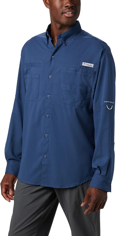 Columbia Men's PFG Japan Maker New Tamiami II High material Medium Sleeve Long Shirt Carbon