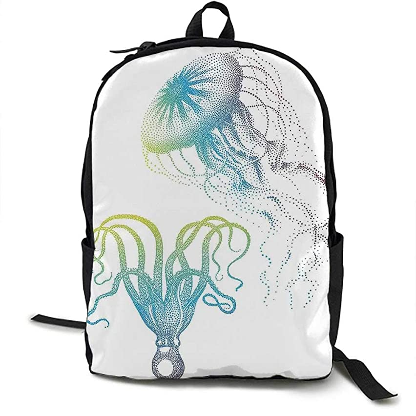 Octopus Unisex classic backpack Octopus and Jellyfish Illustration Nautical Themed Art Underwater Wildlife Marine Suitable for 16-inch laptops 16.5 x 12.5 x 5.5 Inch Blue White