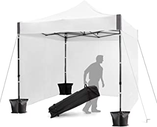 FinFree 10x10 FT Pop Up Canopy Tent Commercial Instant Canopy with Roller Bag,6 Walls and Weight Bags, White