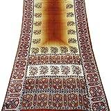 Peegli Indian Traditional Brown Saree Casual Wear Floral Design Vintage DIY Craft Fabric Pure Silk Women's Ethnic Printed Sari