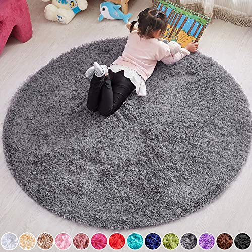 PAGISOFE 4x4 Feet Round Rug Lime Green Circle Rugs for Boys Girls Room Fluffy Carpets and Shaggy Rugs Small Teepee Furry Mat Comfy Reading Rug Circular Rug 4x4 Play Rugs for Kids