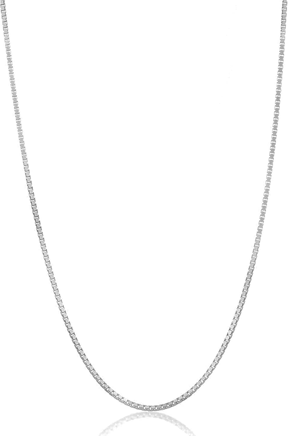 Authentic Solid Sterling Silver Box 1MM Max 59% OFF - Rhodium Chain Bargain sale Necklace