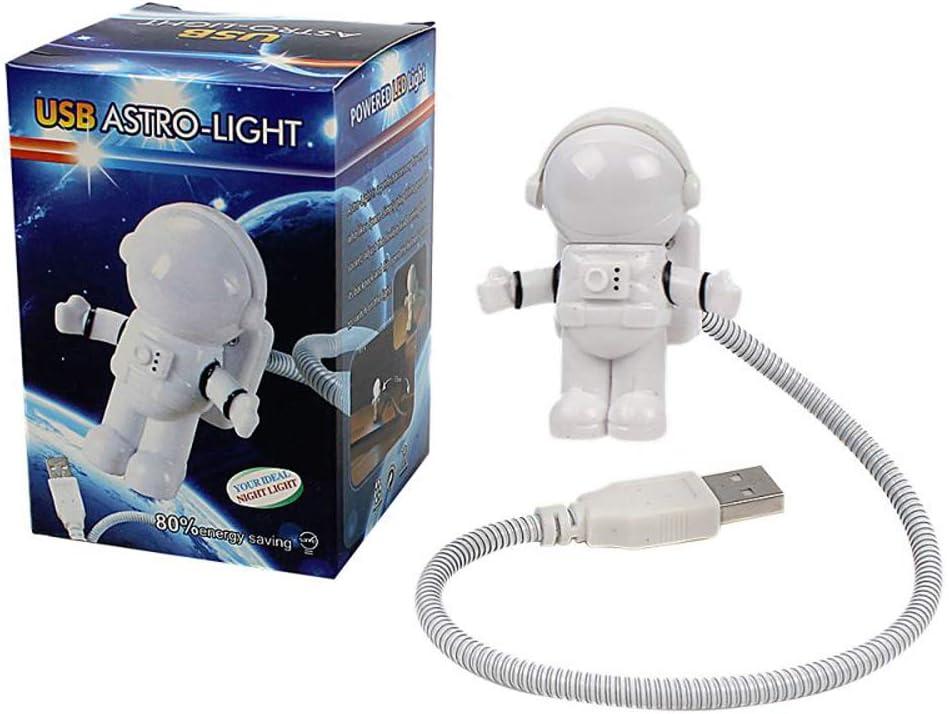 CHIYOU Creative Design Energy Saving Panda Astronaut Spaceman USB LED Night Light Computer Laptop Notebook Mini Keyboard Lamp USB Charging Port Design Flexible Bendable Hose Portable (Spaceman 1pcs)