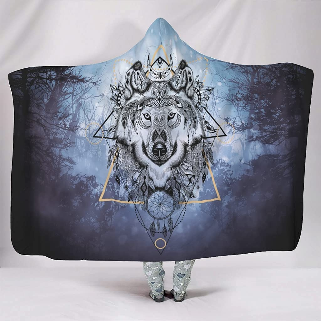 Hooded Blanket Wolf Dream Challenge the ! Super beauty product restock quality top! lowest price Catcher Cute Flannel Wearable