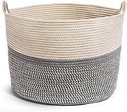Laundry Basket Cotton Twine Woven Basket Large Capacity With Handle Storage Baskets Durable (Color : A, Size : 21.7X13.8CM)