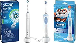 Oral-B White Pro 1000 Power Rechargeable Electric Toothbrush with Kids Electric Toothbrush With Sensitive Brush Head and Timer, for Kids 3+