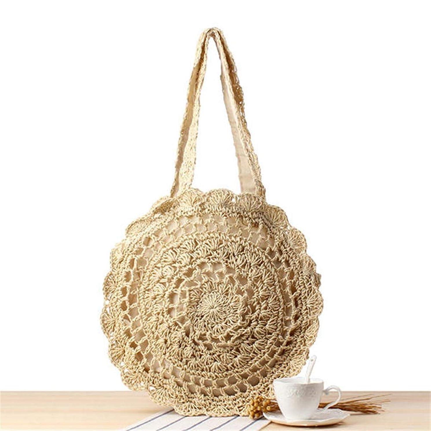 コンテンポラリーランデブーカレッジカゴバッグ ボヘミア風のスタイルの女性の女性のラウンド形状シングルショルダーバッグラタンバッグビーチバッグ (色 : Beige, Size : One size)