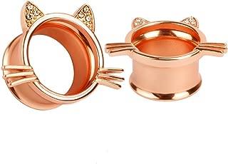 (1 Pair Cute Rose-Gold Kitten Ear Plugs Tunnels Gauges Stretcher Piercings