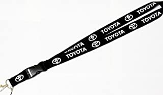 "Toyota Black Super Bike Accessory Fabric Lanyard Neck Strap Detachable Clip Black Stripe Wide 1"" for Car Key ID Card Mobile Phone Badge Holder"