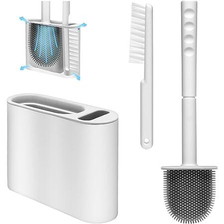 MTSCE Brosse WC,Brosse Toilette et Brosse de Nettoyage Set,avec Support mural et jeu vertical de séchage rapide,Brosse WC Silicone pour salle de bains ou WC d'hôtes (Gris)