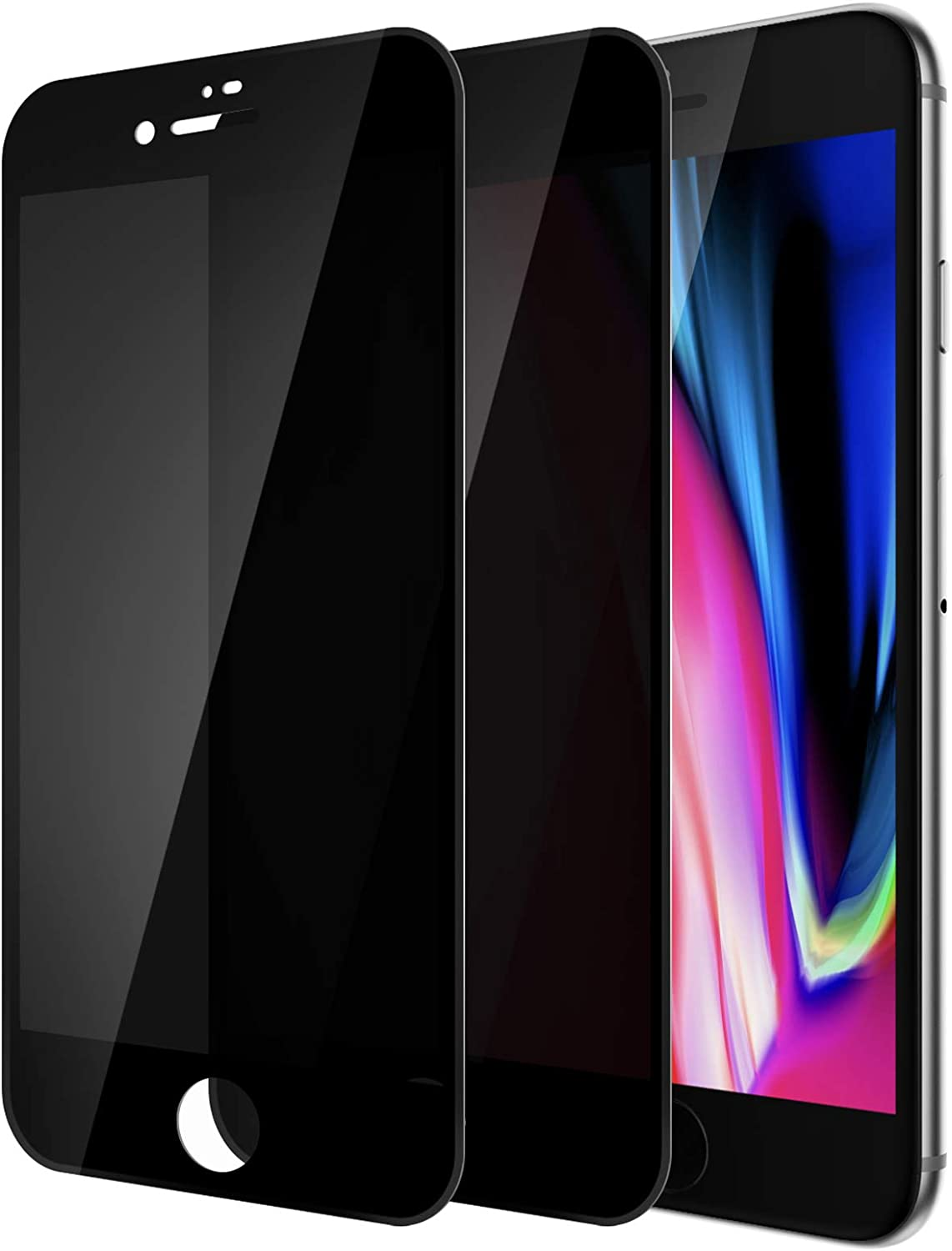 [2Pack] Tensea Compatible Apple iPhone 8 Plus and iPhone 7 Plus Privacy Screen Protector, Anti-Spy Tempered Glass Film, 3D Full Coverage Screen Protector for iPhone 8 Plus and 7 Plus, 5.5 inch, 2 Pack (Black)