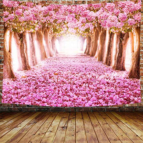 DBLLF Floral Decor Tapestry Wall Hanging Pink Cherry Blossom Trees Forest Sea of Flowers Wall Tapestry Home Decoration Wall Decor Art Tapestries for Bedroom Living Room Dorm Decor 80 X 60 Inches