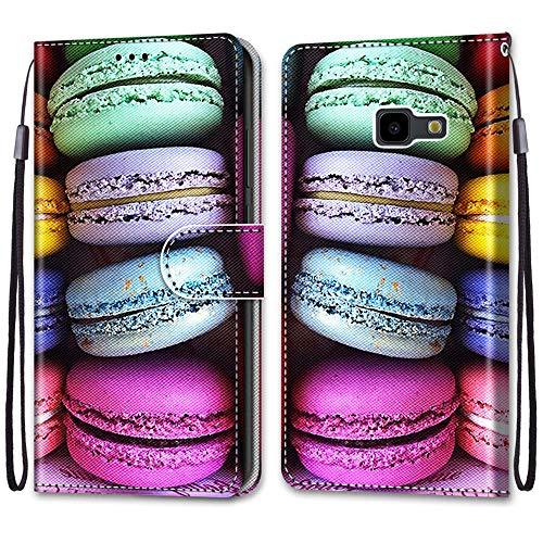 i-Hülle für Samsung J4 Core/J4+ Hülle,Flip Handytasche Hülle PU Leder Klapphülle mit Magnet Kartenfach Weich Silikon Bunte Kekse Muster Schutzhülle Handyhülle Tasche für Samsung Galaxy J4 Core/J4+