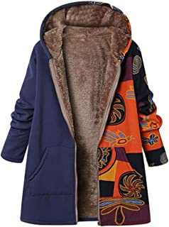 Coats for Women Print Zipper Hoodies Fashion Winter Warm Thicker Long Sleeve Plus Size Open Front Fleece Outwear 5XL